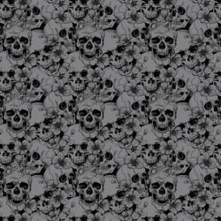 SKULL WITH FLOWERS - ROCK GREY