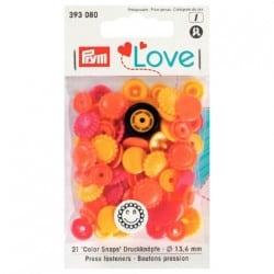 Πλαστικά κουμπώματα Λουλουδάκι Πορτοκαλί - Κίτρινο - Κόκκινο