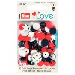 Πλαστικά κουμπώματα Αστεράκι Κόκκινο - Λευκό - Navy