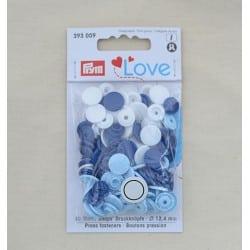 Πλαστικά κουμπώματα Σιέλ - Μπλε - Λευκό